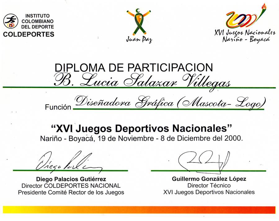Mención Coldeportes Juegos Nacionales 2000